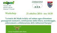 """WORKSHOP: """"LA TUTELA DEL MADE IN ITALY NEL SETTORE AGROALIMENTARE"""""""